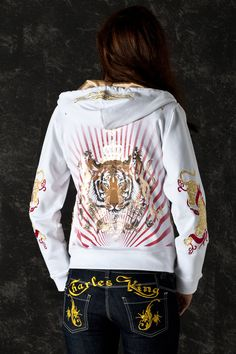 Tiger Women Hoodie Jacket Long Sleeve Glam Rock Clothing sold by Charles King Paris. Shop more products from Charles King Paris on Storenvy, the home of independent small businesses all over the world. Rock Outfits, Sporty Outfits, Trendy Outfits, Sporty Clothes, Trendy Clothing, Rainy Day Outfit For School, Athleisure Outfits, Glam Rock, Hoodie Jacket