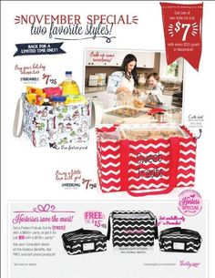 October specials !! loving the Potluck set hostess exclusive !!! Totes are 7 dlls with Purchase and the Medium utility tote is back for a short period !! get them while they last ♥ www.mythirtyone.com/girlslovebags