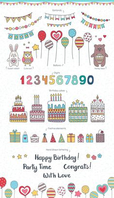 It's a Birthday party! Cute collection with balloons, birthday cakes, presents, garlands. Also included seamless Happy Birthday Clip Art, Happy Birthday Typography, Birthday Clips, Happy Birthday Sister, Happy Birthday Images, Happy Birthday Cards, Birthday Parties, Happy Birthday Girlande, Birthday Postcards