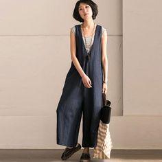 Women Solid Casual Loose Strap Wide Leg Blue Pants