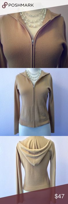 Juicy Couture cashmere hoodie sweater,Medium. Tan Original 90's vintage Juicy Couture cashmere cardigan. THE hoodie style sweater!  Zipper front and kangaroo pockets. Good pre-loved condition with no stains and no pilling. A tiny repair has been made on one sleeve as shown in pic #7. Camel/tan & size medium. So soft and smooth in cashmere 😍. Have a Juicy day and happy Poshing!!! Juicy Couture Sweaters Cardigans