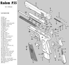 Radom VIS 35 - exploded diagram (1600×1500)