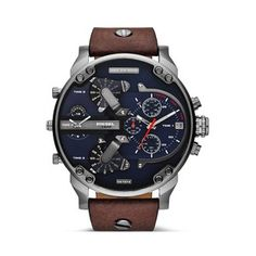 Buy your Diesel Mr.Daddy NOW at MYRwatches! All Diesel watches at the best prices. Casual Watches, Cool Watches, Men's Watches, Stylish Watches, Wrist Watches, Diesel Watches For Men, Schmuck Online Shop, Brown Leather Strap Watch, Stainless Steel Case