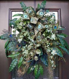 Peacock Wreath Summer Wreath Door Wreath Spring by LuxeWreaths