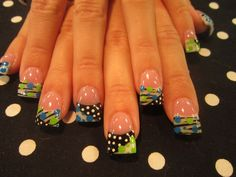 blue and green dots and stripes - Nail Art Gallery