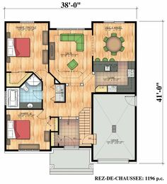 660 – Scandinave Bungalow Secondary home A Frame House Plans, Small House Plans, House Floor Plans, Small Bungalow, Home Structure, Townhouse Designs, Master Room, Prefab Homes, Plan Design