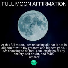 Full Moon Affirmation Tonight is a FULL MOON ? It's the perfect time for self reflection, and setting new goals and intentions. The full moon makes it easy for you to harness the positivity and power of the moons energy, which can be Full Moon Spells, Full Moon Ritual, Full Moon Astrology, Full Moon Quotes, Full Moon Phases, Reiki, Full Moon Tonight, New Moon Rituals, Moon Magic