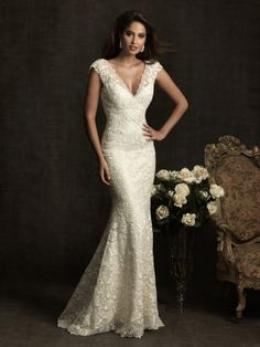 Trumpet/Mermaid V-neck Lace Satin Sweep Train Ivory Buttons Wedding Dresses at Millybridal.com