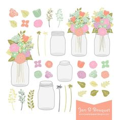 Mason Jar & Flower Bouquet Digital Clipart. Graphics for Wedding Invites, Photography, DIY   Commercial License Available