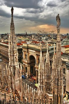 View of The Milano Skyline from The Duomo, Milan, Lombardy, Italy