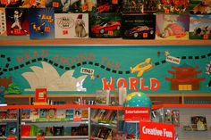 book fair setup that could be easily customized for a countries & cultures unit or a travel party. Library Themes, Library Displays, Classroom Displays, Classroom Organization, Library Ideas, 3rd Grade Classroom, New Classroom, Classroom Themes, Outdoor Classroom
