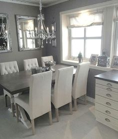 dark wood dining table with gray french dining chairs - french