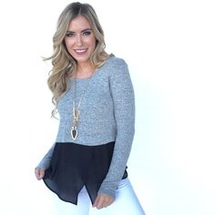 TWO TONE SWEATER BLOUSE | USTrendy