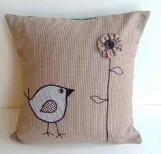 Tweet Appliqued Bird &  Yoyo Puff Flower Pillow Tw34 by codgerbags