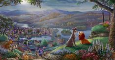 Thomas Kinkade Studios Disney Lady and the Tramp Falling in Love Painting Giveaway