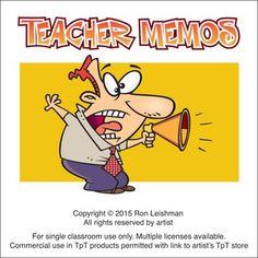 Humorous cartoon memos for teachers.