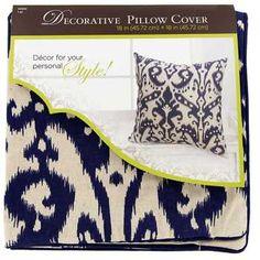 Blue & Beige Ikat Decorative Pillow Cover