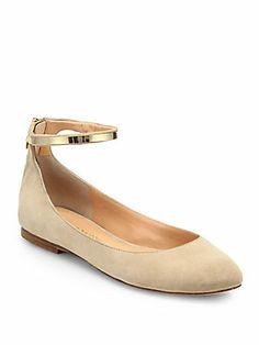 Sigerson Morrison Argenta Suede Ankle-Strap Ballet Flats