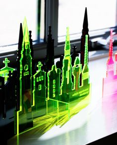Olala copenhagen skyline. Lazer cut in transparant acrylic. Olala(TM) is a design label by butikbutik in Copenhagen