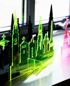 Olala copenhagen skyline. Lazer cut in transparant acrylic. Olala(TM) is a design label by butikbutik in Copenhagen