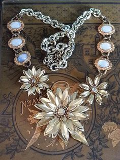 Amazing Gold Floral assemblage necklace #CloverMoonDesigns