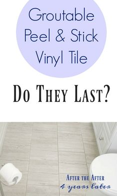 Peel and Stick Groutable Vinyl Tile: Do They Last? years later) - How to Install Peel and Stick Vinyl Tiles (That You Can Grout! Groutable Vinyl Tile, Vinyl Tile Flooring, Vinyl Tiles, Bathroom Flooring, Stick On Tiles Bathroom, Peel And Stick Floor, Peel And Stick Vinyl, Atlanta, Frugal Family