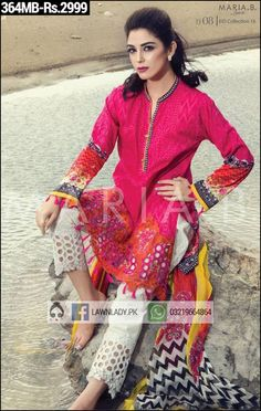 BUY Maria B. Replica Lawn 2016 3Pcs Embroidered Lawn Suit Design#364MB. **FREE…