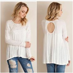 🆕LISTING! NWT Cream Embroidery Top NWT Cream Embroidery Top. Soft and cozy knit jersey material, with beautiful front/neckline embroidery detailing and eye-catching keyhole back! Stretchy and lightweight, this is a perfect transitional piece for both spring and fall. Slightly longer back length. 100% Rayon. Fits true to size with a flowy fit. Small (0-4), Medium (6-8), Large (10-12). 🚫No Trades and No Paypal🚫 Tops Blouses