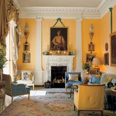 The drawing room of David and Evangeline Bruce, at Albany, in London, decorated for them by John Fowler.