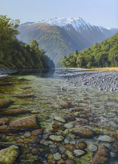 Earthsea Gallery ◊ Selected art by Peter Geen ◊ realism paintings of New Zealand landscapes and seascapes. Abel Tasman National Park, Wilson Art, New Zealand Landscape, New Zealand Art, Nz Art, Landscape Paintings, Oil Paintings, Landscape Concept, The Great Escape