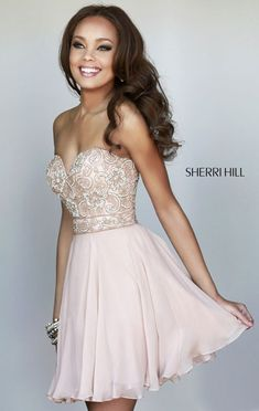 Cheap Nude Sherri Hill 8548 Strapless Cocktail Dress - $168.00 : 2014 Prom Dresses Online Sale,Cheap Sherri Hill Dresses