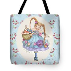 """This new tote bag is on the website Fine Art America. In durable poly-poplin, it comes in three sizes. Washable in cold water, it has the art image printed on both sides. Art © Nancy Lee Moran, """"Karli Star With Butterflies And Raspberries"""" shows a girl with a smile of sweetness. #braids #butterflies #cute #dainty #mushrooms #pink #purple #raspberries #redhead #whimsy #tote #FineArtAmerica #NancyLeeMoran"""
