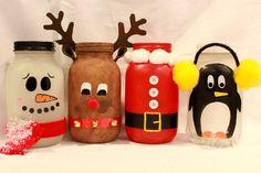 Christmas Mason JarsHand Painted Santa by My3SistersCraftRooml