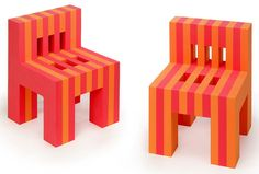 OFFI - (Set of 2) EVA Foam Chairs. Designed by Tarantino Studio and Manufactured by OFFI. One of only two children's chairs acquired for the Carnegie Museum of Art, the EVA Foam Chairs are expertly cut from soft, sturdy EVA foam - the same material that you'll find inside your athletic shoes. The foam makes them comfortable, safe, lightweight, durable, strong and washable. You'll find that their child-size proportions belie their strength - each piece can support a weight up to 300 pounds…
