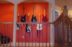 Guitar wall- Lindsey needs this in our future home! Guitar Room, Guitar Wall, Do It Yourself Design, Guitar Collection, Dream Decor, Basement Remodeling, Wine Rack, Liquor Cabinet, Storage