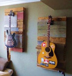 cool guitar hangars made from barnboardstore.com material