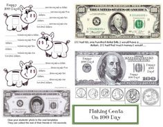 """Money-coin activities: FREE 14-page """"Making Cents"""" packet. Great fun for 100 Day or any other day.  Includes a variety of interesting writing, counting & measuring activities that involve money."""