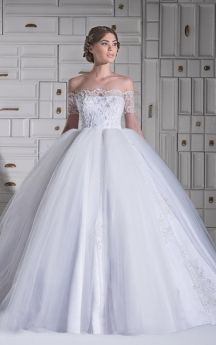 Chic Off-the-shoulder A-line Floor Length Lace Wedding Dress