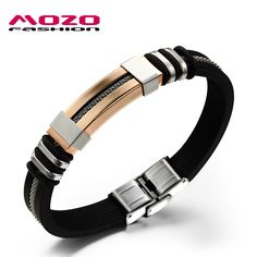 MOZO FASHION Men Charm Jewelry Pulseras Silicone Rubber Wristband Bracelets Golden Stainless Steel Bracelet Male Bangles TY793