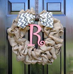 Summer wreath - Burlap Wreath - Wreath for Door - Chevron Wreath - Country Cottage - Shabby Chic Decor - Spring Decorations - Home decor - via Etsy Door Monogram, Monogram Wreath, Diy Wreath, Wreath Burlap, Wreath Ideas, Tulle Wreath, Etsy Wreaths, Door Wreaths, Yarn Wreaths