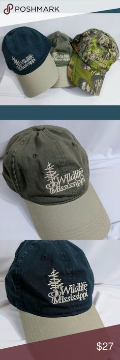Wildlife Mississippi Hats Baseball Caps Bundle 3 Wildlife Mississippi Conservation Program hats. Three baseball cap style hats with adjustable strapback. Embroidered with the Wildlife Mississippi logo. Unworn. Smoke free. You are purchasing all three hats with this listing. Accessories Hats