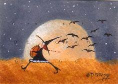 "Halloween witch ""Pumpkin Thief"" original folk art painting by Deborah Gregg Halloween Canvas, Spooky Halloween, Vintage Halloween, Halloween Pumpkins, Halloween Crafts, Halloween Decorations, Halloween Crochet, Vintage Witch, Samhain"