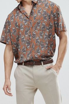 On my wish list : boohooMAN Oversized Shirt With Paisley Print In Light Brown from ASOS #ad #men #fashion #shopping #outfit #inspiration #style #streetstyle #fall #winter #spring #summer #clothes #accessories