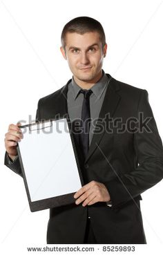 Young businessman holding blank board, isolated on white background