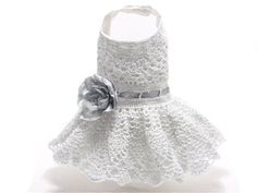 White and Silver Crochet Dog Dress size Small by MaxMilian on Etsy, $50.00
