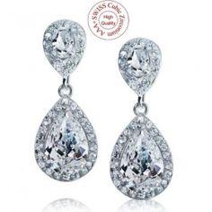 Boucles d'oreilles mariage diamante CZ KIM3