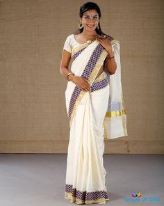 Kerala saree with cutwork lace border