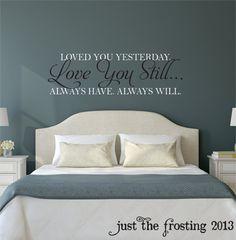 Te amo todavía maestro dormitorio pared por JustTheFrosting en Etsy