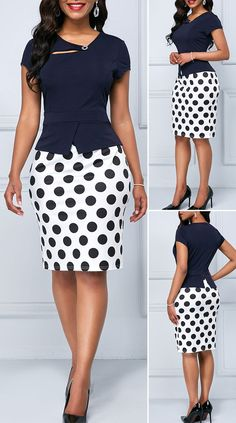 Cap Sleeve Polka Dot Print Navy Blue Sheath Dress - Es Tutorial and Ideas Latest African Fashion Dresses, African Print Fashion, Women's Fashion Dresses, Outfits Dress, Maxi Dresses, Pretty Dresses, Beautiful Dresses, Dresses For Work, Office Dresses