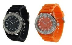Black Orange 2 Pack Geneva Crystal Rhinestone Large Face Watch with Silicone Jelly Link Band Geneva. $10.05. Comfortable, fashionable, and fun!. LARGER Design Silicone (rubber) Jelly watch band. Stainless steel back. Crystal rhinestones surround the 1.75 INCH face!. Quartz Japanese Movement